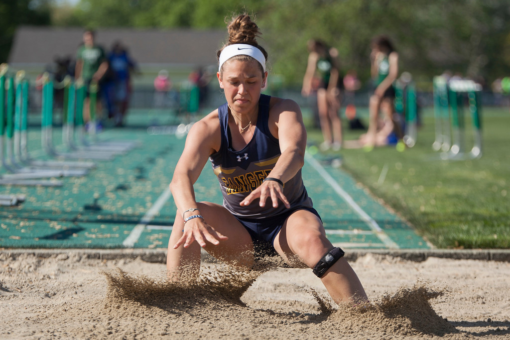 . Jen Forbus - The Morning Journal<br> North Ridgeville\'s Isabella Geraci won the girls long jump at the Amherst regional track meet on May 25.