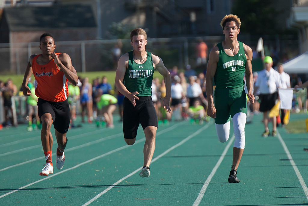 . Jen Forbus - The Morning Journal<br> Westlake\'s Kevin Walls competed in the boys 100-meter dash on May 25.
