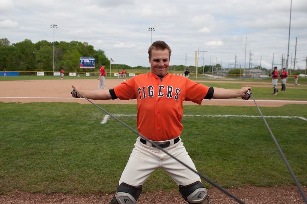 . Michael Johnson - The News-Herald Chagrin Falls\' Cole Newbauer strectches before the Hudson Regional Semifinal against Canfield on May 26.  Canfield defeated Chagrin Falls 2-0.