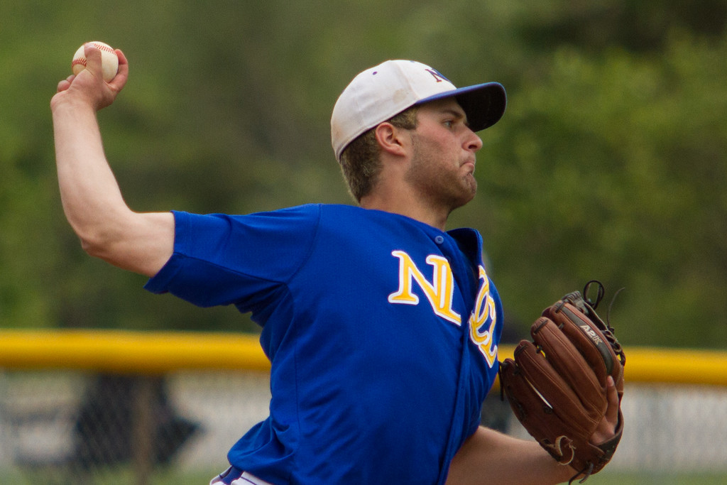 . Michael Johnson - The News-Herald NDCL pitcher, Joe DiMattio, throws to a Tallmadge batter during the Division 2 Regional Tournament  in Hudson on May 26.  Tallmadge defeated NDCL 3-1.