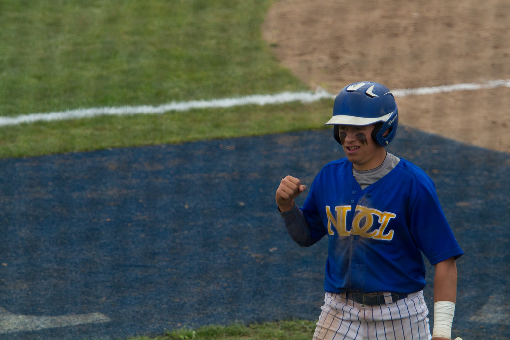 . Michael Johnson - The News-Herald NDCL\'s Jake Marut celebrates after scoring during the Division 2 Regional Tournament against Tallmadge in Hudson on May 26.  Tallmadge defeated NDCL 3-1.
