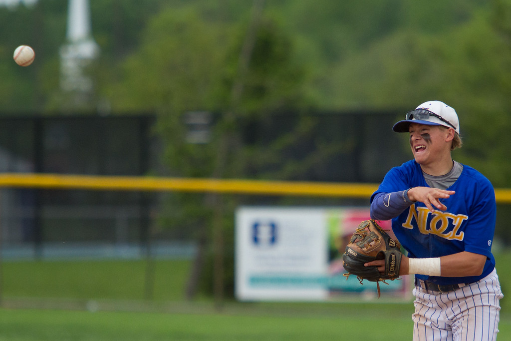. Michael Johnson - The News-Herald NDCL\'s Jake Marut throws the ball to home plate for an out during the Division 2 Regional Tournament against Tallmadge in Hudson on May 26.  Tallmadge defeated NDCL 3-1.