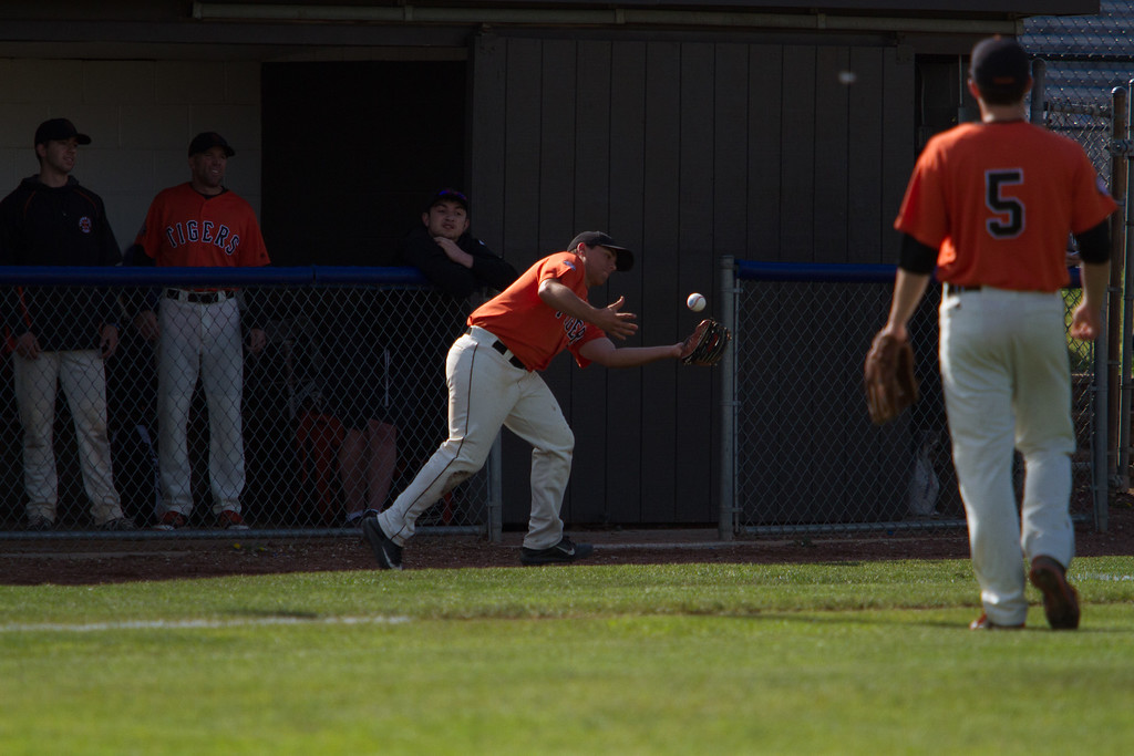 . Michael Johnson - The News-Herald Chagrin Falls\' Colin Kennedy makes a catch in foul territory during the Hudson Regional Semifinal against Canfield on May 26.  Canfield defeated Chagrin Falls 2-0.