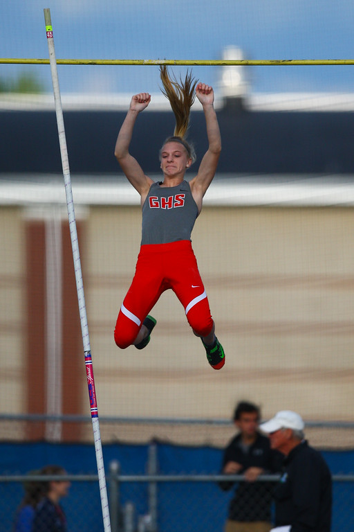 . 2017 - Track and Field - Austintown Regionals.  Geneva Pole Vaulter Deidra Marrison won the pole vault with a good vault at 13-1.50.