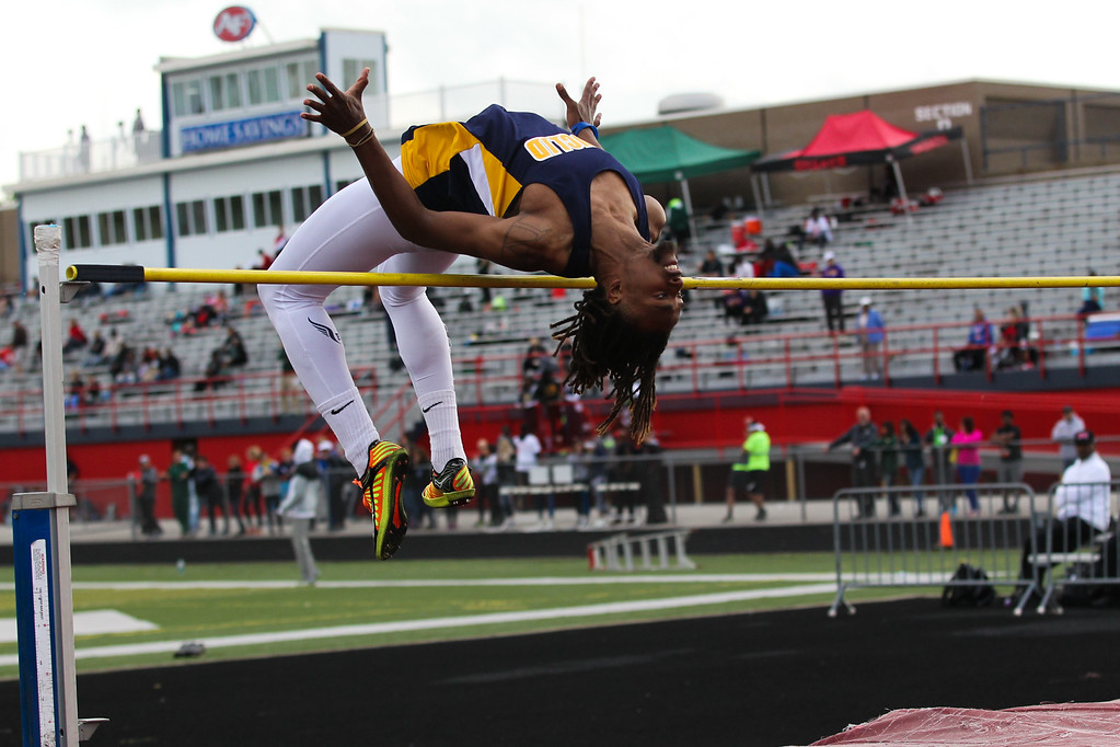 . 2017 - Track and Field - Austintown Regionals.  Euclid\'s Isiah Claytor attempts a high jump.  He would fnish 9th with high jump of 6-03.