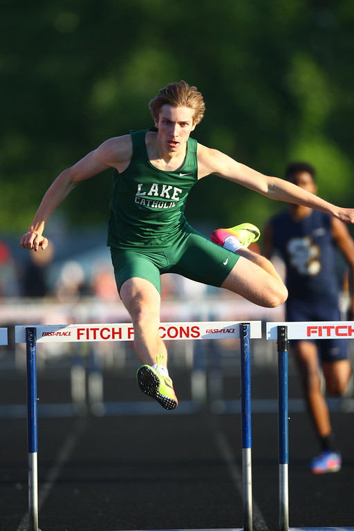 . 2017 - Track and Field - Austintown Regionals.  Lake Catholic\'s Connor Duricky won the 300 Meter Hurdles in a time of 37.86.