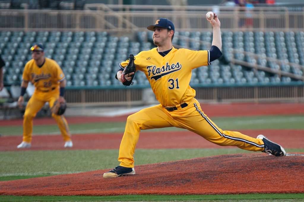 . Jen Forbus - The Morning Journal<br> Eli Kraus took the mound for the Kent State Golden Flashes in the MAC Championship game against Miami on May 26.