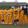 Jen Forbus - The Morning Journal<br> Kent State's Collin Romel (Olmsted Falls) fist bumps his teammates during introductions for the MAC Championship game. The Golden Flashes played the Miami Red Hawks on May 26.