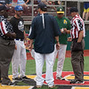 Jen Forbus - The Morning Journal<br /> Coaches Matt Rositano and Jason Dimacchia for the Red team and Brad Ternes for the Blue team meet with the officials prior to the start of the Lorain County Senior All-Star Game at Oberlin College on May 26.