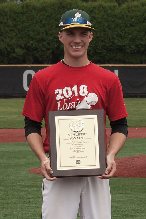. Jen Forbus - The Morning Journal Amherst senior Evan Shawver was named the 2018 Lorain County Mr. Baseball during the Lorain County Senior All-Star games at Oberlin College on May 26.