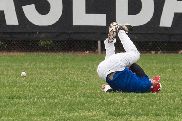. Jen Forbus - The Morning Journal Despite a diving effort, Tristan Arno of Elyria isn\'t able to make the catch for the blue team during the Lorain County Senior All-Star Game at Oberlin College on May 26.