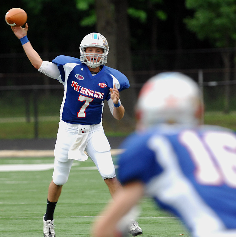 . News-Herald file South quarterback Ray Russ finds an open Colton Wallace from Mentor during Saturday\'s News-Herald Senior Bowl.