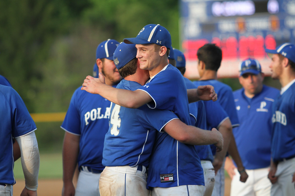 . Michael Johnson - News-Herald Poland\'s Dan Klase (left) and Jared Burkert (right) celebrate winning the Division 2 Hudson Regional Final on May 27, 2016.  Poland defeated Chagrin Falls 13-3.