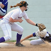Jon Behm - The Morning Journal<br /> Keystone junior Kodi Akers slides into third around the tag of Maumee freshman Brianna Zattau in the bottom of the second inning during the Bucyrus Region final on May 29.