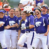 Jon Behm - The Morning Journal<br /> Teammates cheer as Keystone senior Summer Constable heads home following her lead off home run in the bottom of the first inning against Maumee during the Bucyrus Region final on May 29.