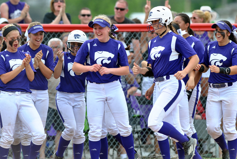 Jon Behm - The Morning Journal<br /> Teammates cheer as Keystone junior Lauren Shaw heads home following her second home run of the game in the bottom of the second inning against Maumee during the Bucyrus Region final on May 29.