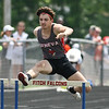 Michael Johnson - The News-Herald<br /> Geneva's Michael LaRiche leaps over a hurdle in the Boys 300 meter hurdles during the Division 2 Track and Field Regional Finals at Austintown-Fitch High School on May 28, 2016.