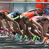 Michael Johnson - The News-Herald<br /> Runners in the Girls 100 meter hurdles line up at the starting line during the Division 2 Track and Field Regional Finals at Austintown-Fitch High School on May 28, 2016.
