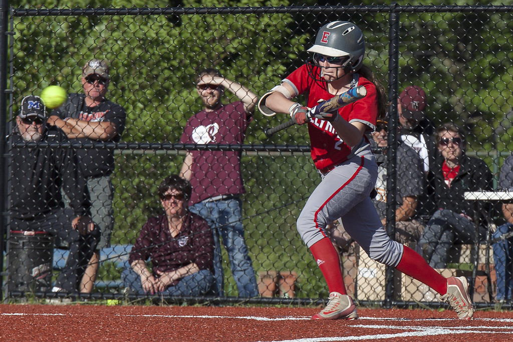 . Jen Forbus - The Morning Journal Elyria\'s Macy Taylor lays down a bunt in the Lorain County All-Star game on June 4.