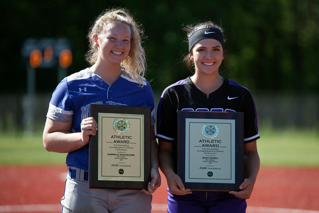 . Jen Forbus - The Morning Journal Miss Softball co-winners Gabrielle Shackelford of Midview and Madi Nunez and Keystone.