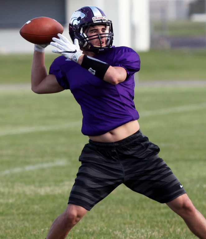 . Randy Meyers - The Morning Journal Keystone\'s Trey Minnich works on a passing drill during the Stars practice in preparation for the Lorain County Senior All-Star game on June 6.