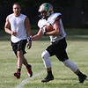 Randy Meyers - The Morning Journal<br /> Vermilion's Kaleb Caskey catches a pass against a Vermilion alumni member during the Stars practice in preparation for the Lorain County Senior All-Star game on June 6.