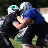 Randy Meyers - The Morning Journal<br /> Columbia's Garhett Wheatley, left, battles Aaron Botos of Midview during the Stars practice in preparation for the Lorain County Senior All-Star game on June 6.