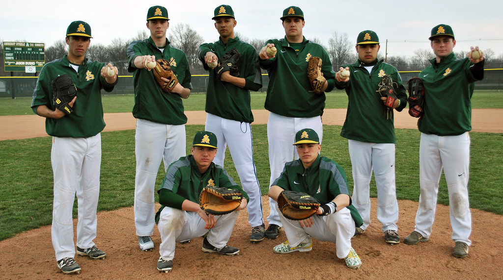 . Jon Behm - The Morning Journal<br> Amherst\'s 2016 squad has a strong pitching rotation that boasts the likes of (from left) Casey McConihe, Brain D\'Andrea, Xavier Moore, Joe Masters, Nick DeJesus and Hunter Kuzak, which is sure to keep catchers Hunter Cassidy and Mark Harris, both crouching, busy.