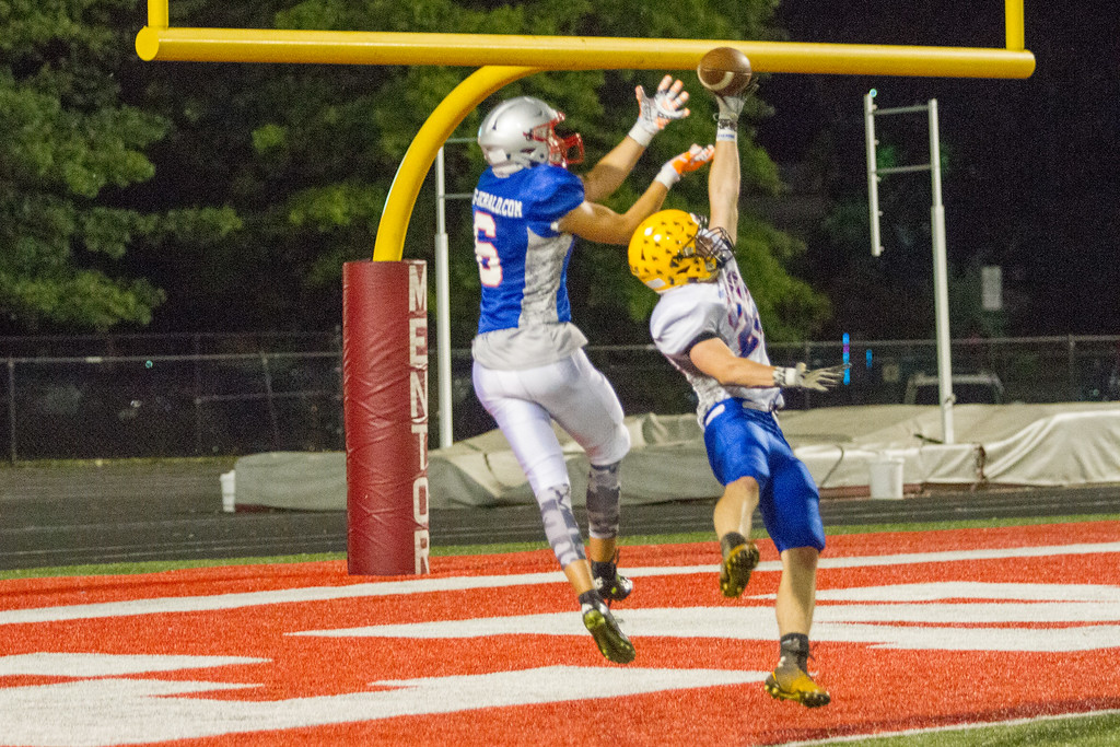 . Barry Booher - The News-Herald Wickliffe\'s Rob Johnson tips away a possible TD pass to Mentor\'s Manning Trubisky.