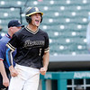 Don Knight | The Herald Bulletin<br /> Ryan Hale reacts after crossing home plate giving the Broncos a 4-2 lead over University in the ninth inning at Victory Field on Saturday.