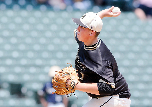 Don Knight | The Herald Bulletin<br /> Evan Etchison pitches for the Daleville Broncos as they captured their second state baseball title in three years on Saturday at Victory Field.