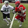 Randy Meyers - The Morning Journal<br> Westlake's Ellis Langermeier forces Aaron Livermore of Brecksville-Broadview Heights to the sideline during the second quarter on May 5.