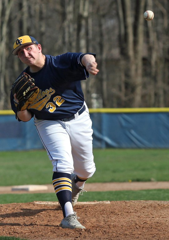 . Randy Meyers - The Morning Journal<br> Olmsted Falls starting pitcher Colin Romel delivers a pitch against Midview during the third inning on April 10.