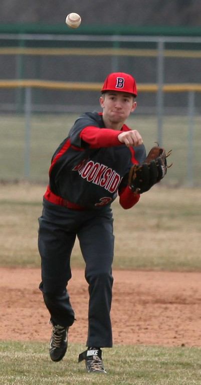 . Randy Meyers - The Morning Journal<br> Brookside shortstop Christian Fields throws over to first for an out against Lorain on March 25 at The Pipe Yard.