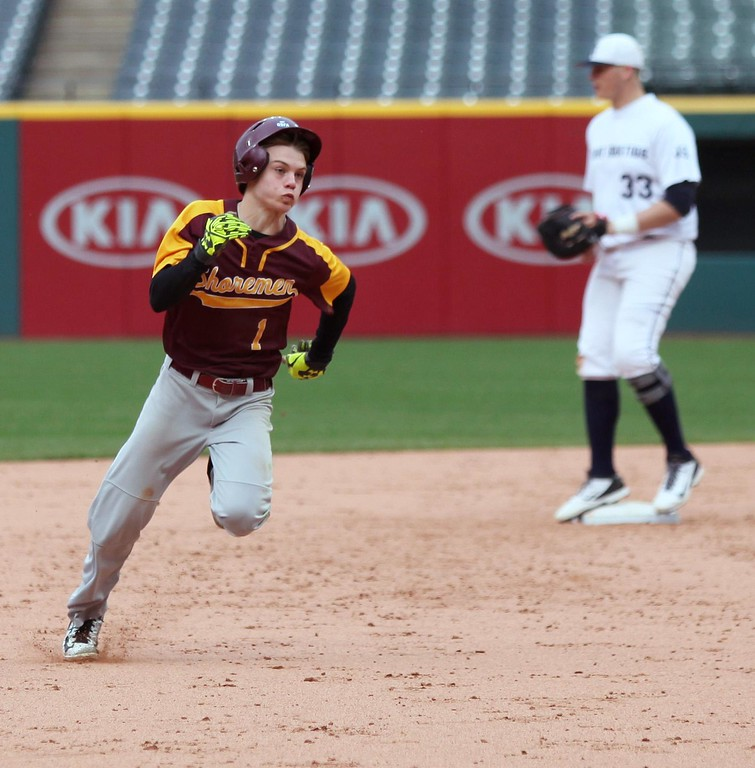 . Randy Meyers - The Morning Journal<br> Avon Lake\'s Jacob Caraballo rounds second and heads to third on a triple against St. Ignatius during the Cleveland Indians Charities Hardball Classic at Progressive Field on April 21.