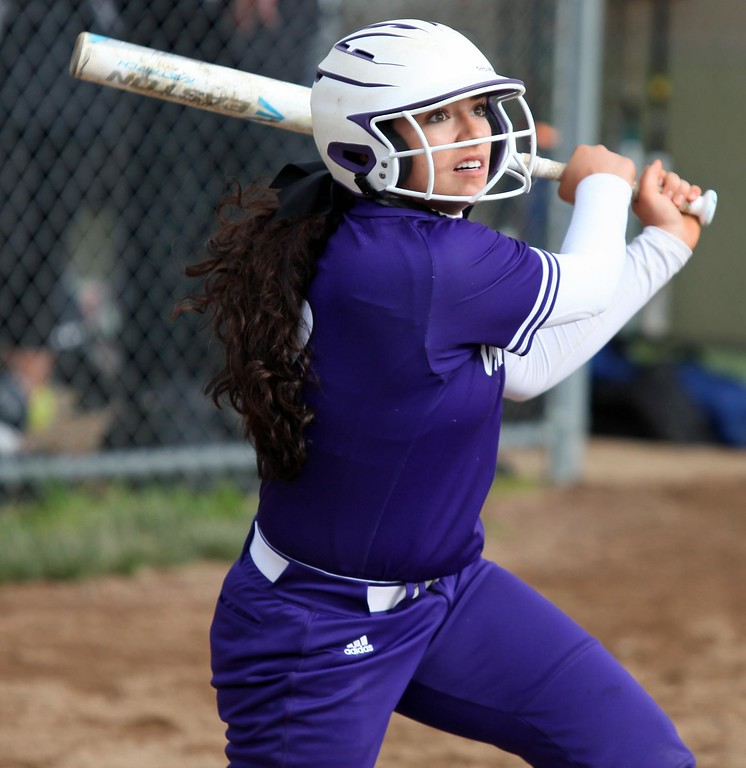 . Randy Meyers - The Morning Journal<br> Madi Nunez of Keystone watches her hit slice foul against Padua on May 11.