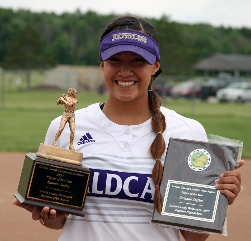 . Randy Meyers - The Morning Journal<br> Keystone\'s Sammie Stefan displays her Lorain County Coaches Association Player of the Year awards during the Lorain County Senior All-Star Game on June 5.