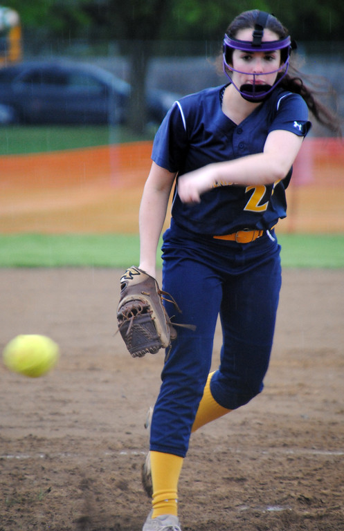 . Jon Behm - The Morning Journal<br> Olmsted Falls Claudia Schuh pitches during the fourth inning against Brunswick on April 28 during the Prebis Memorial Invitational.