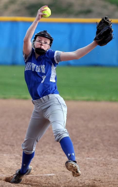 . Randy Meyers - The Morning Journal<br> Midview\'s Lauren Landers delivers a pitch against Amherst during the top of the fifth inning on April 19.