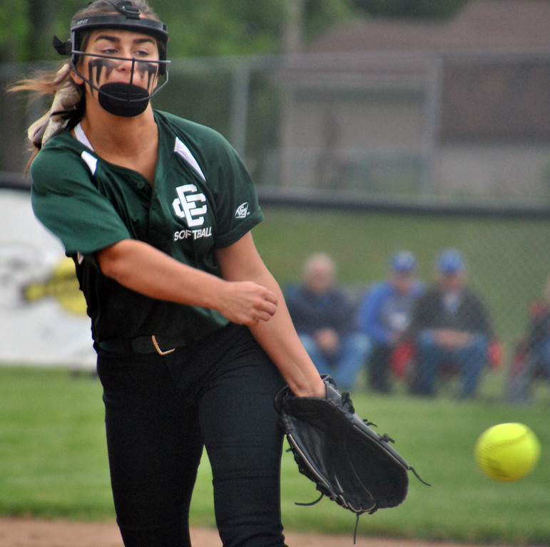 . Jon Behm - The Morning Journal<br> Elyria Catholic junior pitcher Ashley Cascio pitches during the top of the sixth inning against Massillon Tuslaw in a Division III Massillon Region semifinal on May 24. Cascio pitched 13 innings.