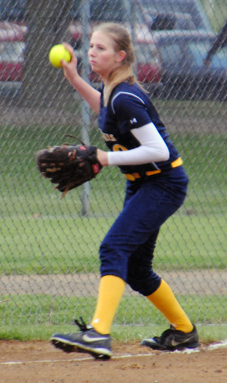 . Jon Behm - The Morning Journal<br> Olmsted Falls sophomore Kelly Grospitch looks to fire home during the third inning against Brunswick on April 28 during the Prebis Memorial Invitational.