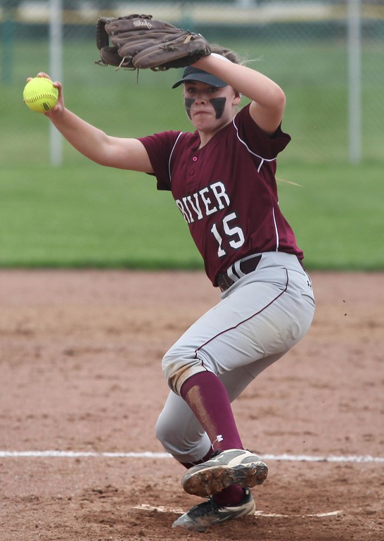. Randy Meyers - The Morning Journal<br> Rocky River starting pitcher Marissa Smiley delivers a pitch against Elyria Catholic on April 20.