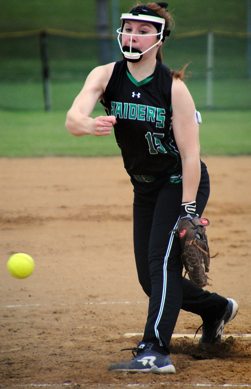 . Jon Behm - The Morning Journal<br> Columbia\'s Allison Bouscher delivers a pitch during the top of the second inning against Nordonia on April 28 at Wellington Community Park.