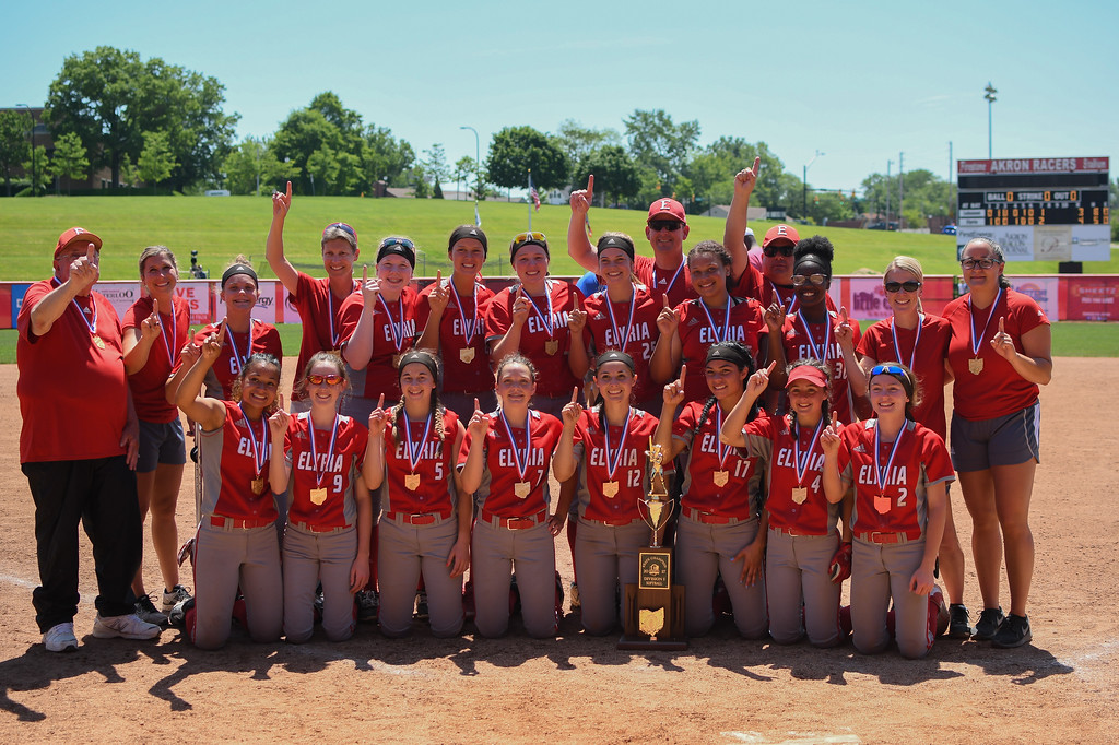 . Eric Bonzar�The Morning Journal<br> The Elyria Pioneers are crowned the D-I state champions after the team\'s 4-3 win over the Lebanon Warriors, June 3, 2017.