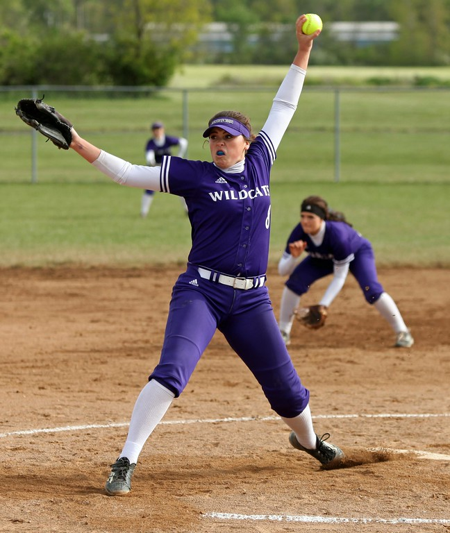 . Randy Meyers - The Morning Journal<br> Keystone relief pitcher Lauren Shaw delivers a pitch against Padua on May 11.
