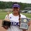 Randy Meyers - The Morning Journal<br> Keystone's Sammie Stefan displays her Lorain County Coaches Association Player of the Year awards during the Lorain County Senior All-Star Game on June 5.