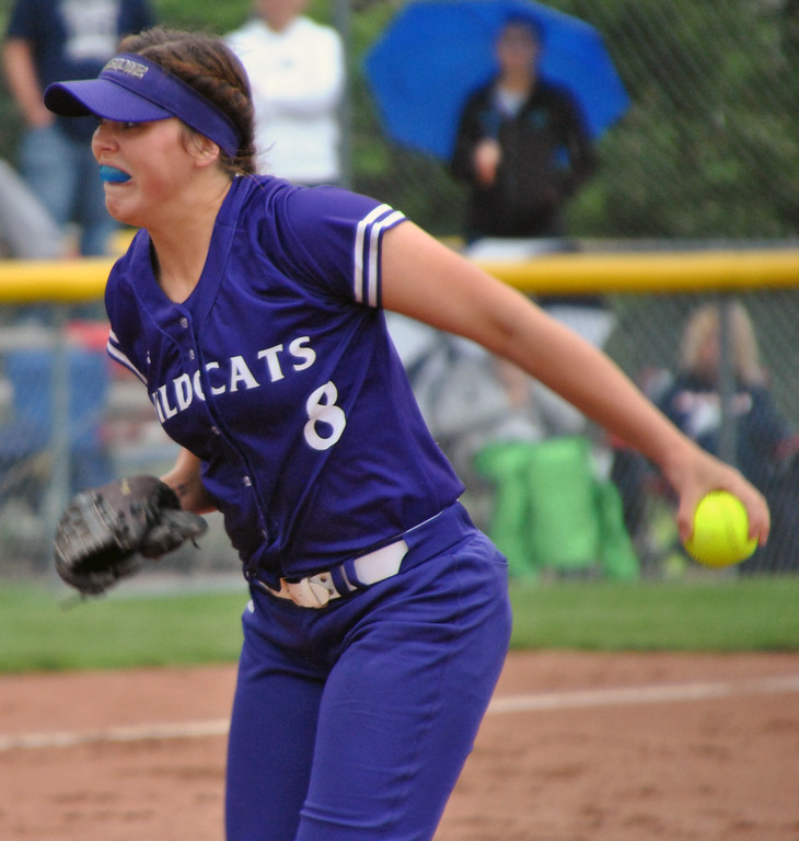 . Jon Behm - The Morning Journal<br> Keystone senior Lauren Shaw pitches during the bottom of the first inning against Napoleon during a Division II Tiffin Region semifinal on May 25. Shaw had six strikouts in her complete game victory.