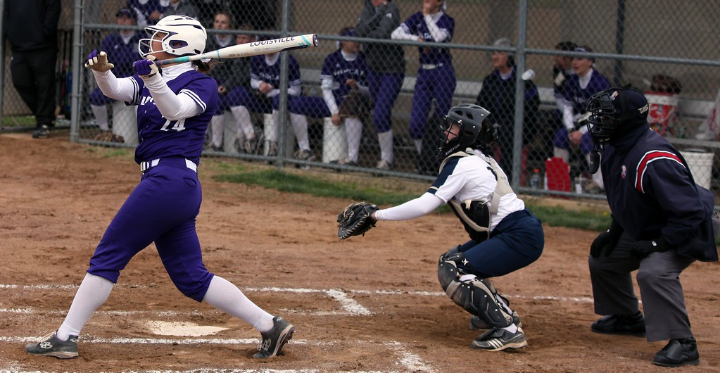 . Randy Meyers - The Morning Journal<br> Keystone\'s Sammie Stefan belts a home run against Pittsford Sutherland (NY) on April 24.