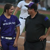 Eric Bonzar—The Morning Journal<br> Keystone 's Lauren Shaw and coach Jim Piazza share a moment in the circle in the top of the fifth inning. Shaw pitched five innings, giving up seven hits and five runs, in the Wildcats' D-II state semifinal loss against the Akron Hoban Knights, June 2, 2017.