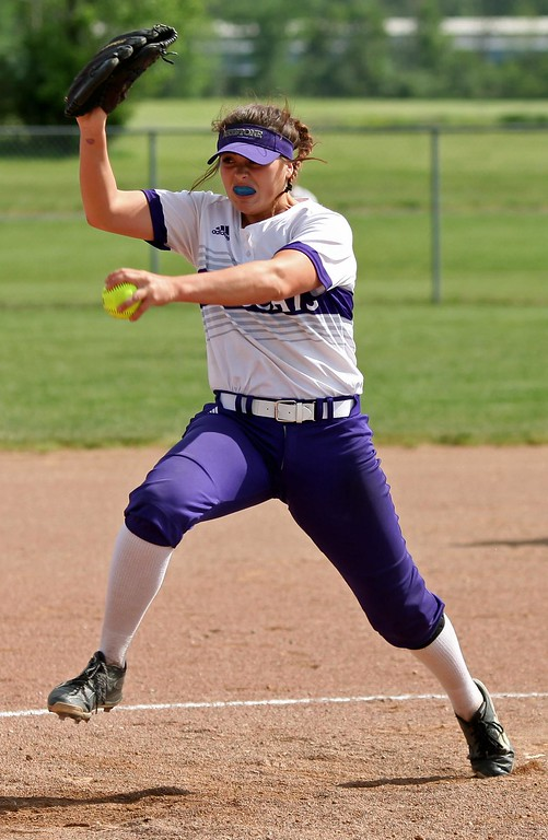 . Randy Meyers - The Morning Journal<br> Keystone\'s Lauren Shaw delivers a pitch against Holy Name during the second inning of the Division II LaGrange District final on May 18.